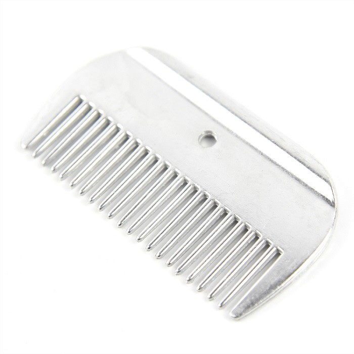 Large Horse Metal Grooming Comb Aluminum 10cm * 5.5cm With A Round Hole